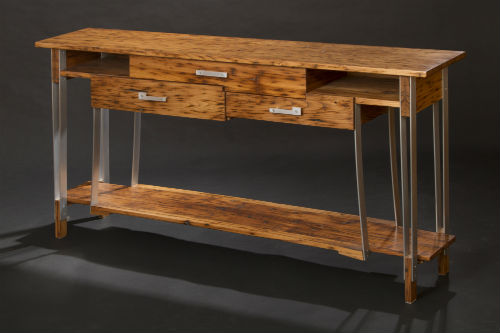 Chestnut and Aluminum Console Table