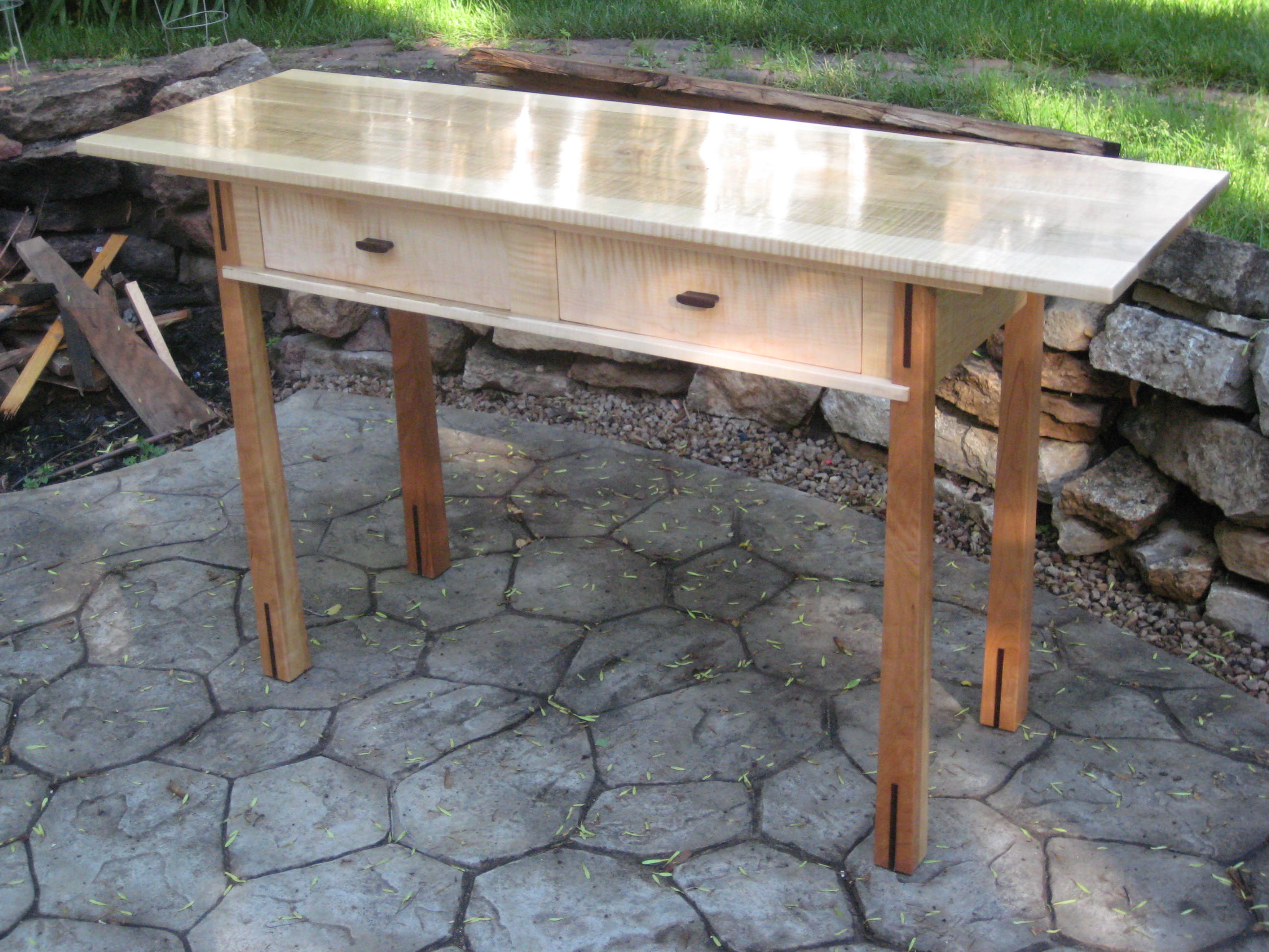 Curly Maple and Cherry Console Table